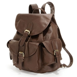 Urban Buckle Flap Leather Backpack by Amerileather in Vinyl