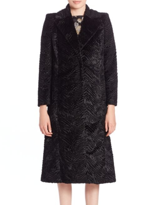 Fur-Collar Textured Faux Fur Coat by Alice and Olivia in Keeping Up With The Kardashians - Season 12 Episode 7