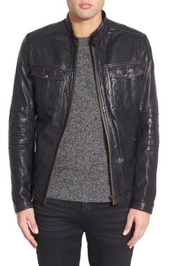 Jarroll Black Leather Biker Jacket by Boss Orange in Black Mass
