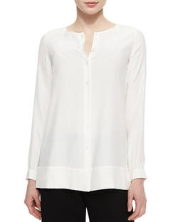 Rizalina Long-Sleeve Silk Blouse by Lafayette 148 New York in Forgetting Sarah Marshall
