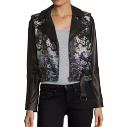 Cooper Floral-Print Leather Moto Jacket by Parker in Animal Kingdom