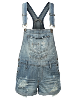 Women's Denim Overall Shorts by J.Tomson in The DUFF