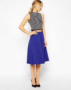Midi Circle Skirt in Woven Crepe by ASOS in The DUFF