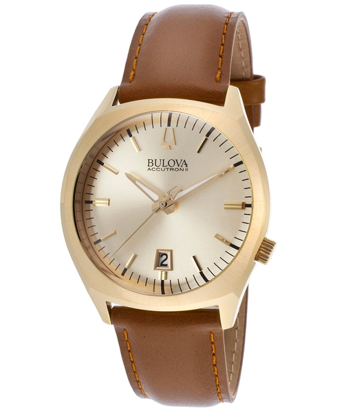 Leather Gold-Tone Dial Watch by Bulova Accutron II in Everybody Wants Some