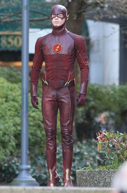 Custom Made 'The Flash' Costume by Kate Main (Costume Designer) in Supergirl