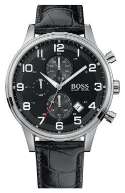 Leather Strap Chronograph Watch by Boss Hugo Boss in Black or White