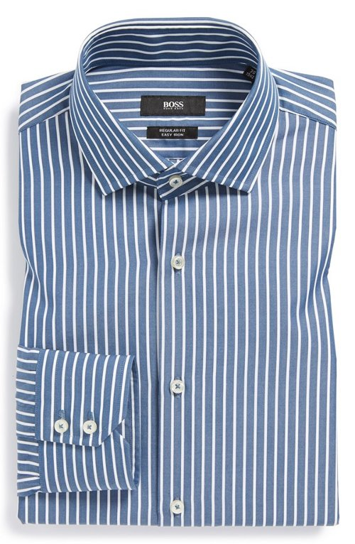 Regular Fit Easy Iron Stripe Dress Shirt by Hugo Boss in Crazy, Stupid, Love.