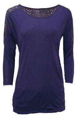 Misses Eyelet Cut Out 3/4 Sleeve Top by LabelShopper in Wish I Was Here