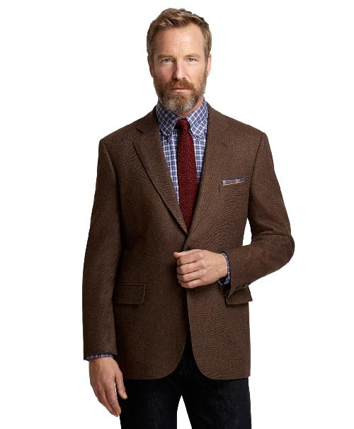 Madison Fit Brown Twill Sport Coat by Brooks Brothers in Transcendence