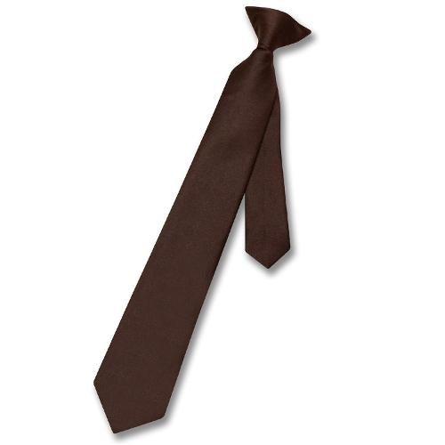Boy's Clip-On NeckTie Solid Youth Neck Tie by Vesuvio Napoli in Unbroken