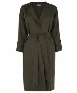 Tencel Collarless Mac Coat by Oasis in Grace and Frankie