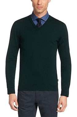 'Melba-D' Merino Wool V-Neck Sweater by Boss in Love the Coopers
