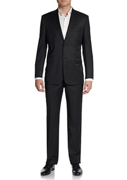Tonal Stripe Wool/Silk Suit by Saks Fifth Avenue Black in Black-ish