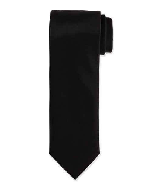 Solid Silk Satin Tie by Brioni in Black or White