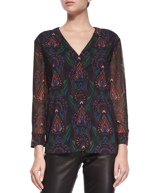 Fall Garden V-Neck Chiffon Blouse by Alice + Olivia in Pretty Little Liars