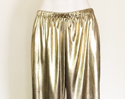 Gold Lame Break Away Pants by Custom in Pitch Perfect 2