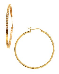Pavé Cubic Zirconia Hoop Earrings by Freida Rothman Belargo in Couple's Retreat
