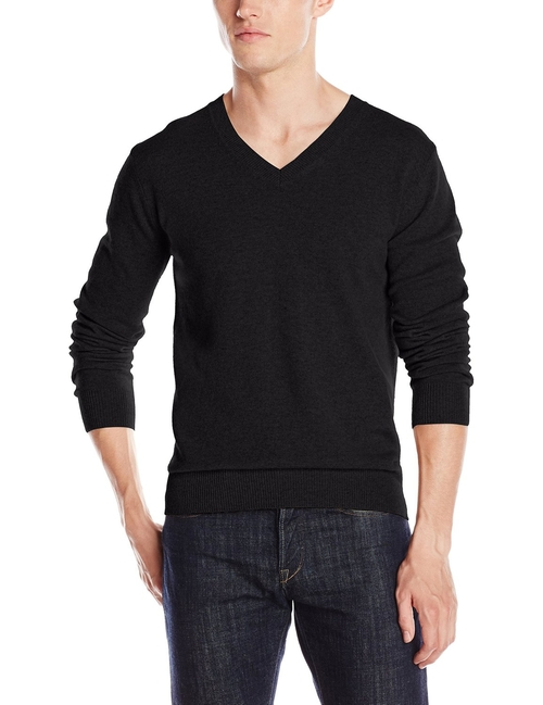 Men's Cashmere Basic V-Neck Sweater by Christopher Fischer in Creed
