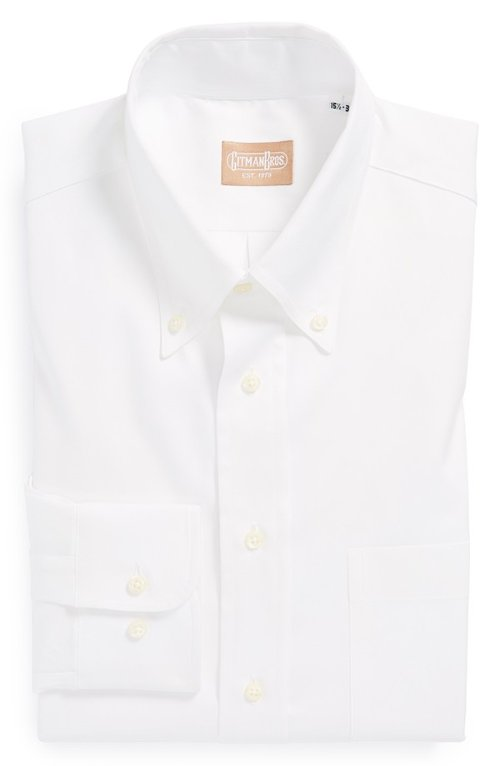 Button Down Dress Shirt by Gitman in Black or White