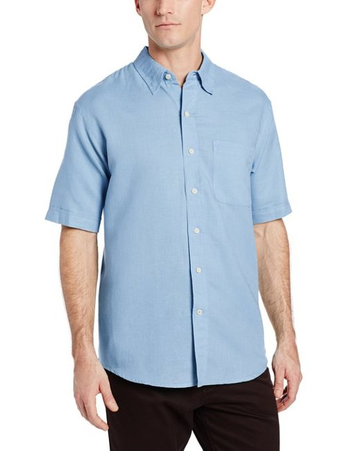 Men's Short Sleeve Solid Linen Cotton Button Down Shirt by IZOD in Nightcrawler