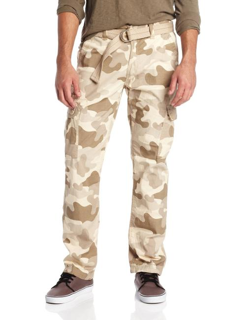 Men's Basic Cargo Long Camo Pants with Color Matching Belt by Southpole in Savages