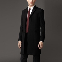 Velvet Detail Wool Cashmere Coat by Burberry in Suits