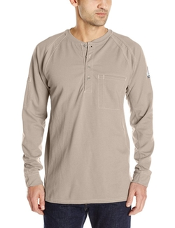 Men's IQ Series Long Sleeve Comfort Knit Henley by Bulwark in The Great Indoors