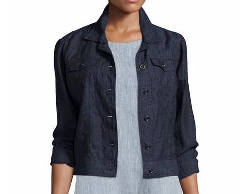 Organic Linen Jean Jacket by Eileen Fisher in Jason Bourne