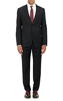 Twill Two-Button Metro Suit by Armani Collezioni in Quantico