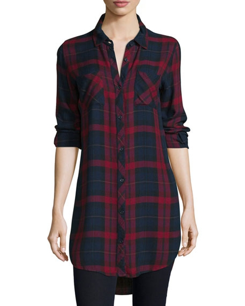 Plaid Boyfriend Long Shirt by Go Silk in Pretty Little Liars - Season 7 Episode 2