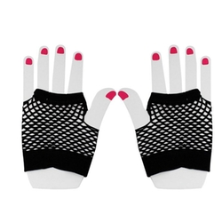 Fish Net Elastic Short Fingerless Gloves by Allegra K in Empire