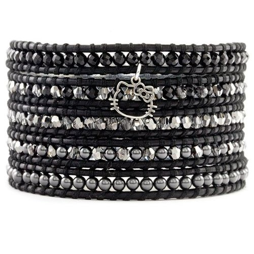 Black Crystal Stone Pearl Wrap Bracelet by Chan Luu in Need for Speed