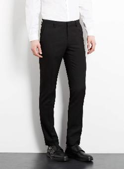 BLACK DOBBY SKINNY SUIT PANTS by TOPMAN in Jersey Boys