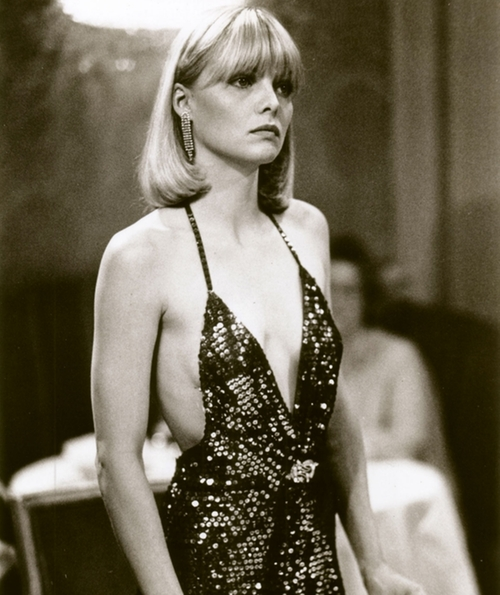 Deep Neck Sequin Evening Dress by Patricia Norris (Costume Designer) in Scarface