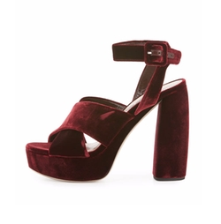 Velvet Crisscross Sandals by Miu Miu in Fuller House