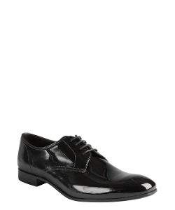 Black Patent Leather Oxford Shoes by Prada in Self/Less