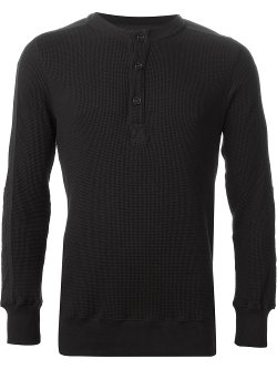 Waffle Knit Henley Long Sleeve T-Shirt by Helmut Lang in The Town