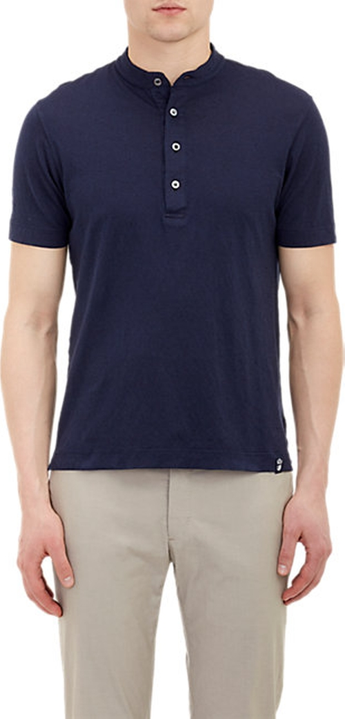Slub Weave Short-Sleeve Henley Shirt by Drumohr in Pretty Little Liars - Season 6 Episode 4