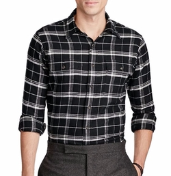 Plaid Cotton Twill Workshirt by Ralph Lauren in Animal Kingdom