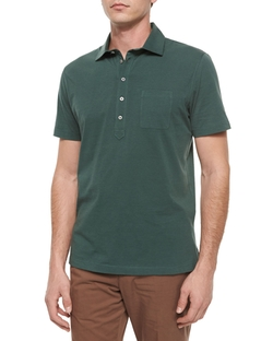 Five-Button Jersey Knit Polo Shirt by Brunello Cucinelli in Ballers