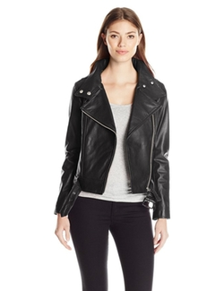 Women's Hania Lamb Skin Belted Leather Jacket by Mackage in Keeping Up With The Kardashians