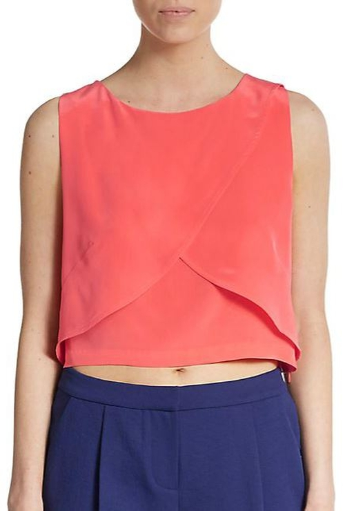 Malone Silk Cropped Top by Rebecca Minkoff in Pretty Little Liars - Season 6 Episode 6