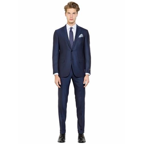 Milano Easy Wool Herringbone Suit by Ermenegildo Zegna in The Boss