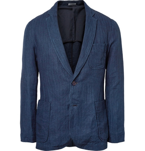 Herringbone Linen Suit Jacket by Blue Blue Japan in Steve Jobs