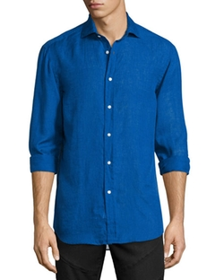 Solid Linen/Cotton Long-Sleeve Sport Shirt by Ralph Lauren in The Night Manager