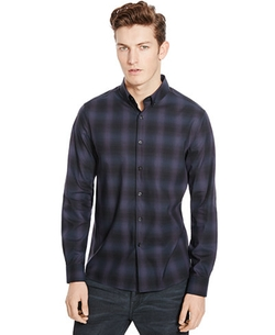 Slim-Fit Plaid Button-Down Shirt by Kenneth Cole New York in The Night Of