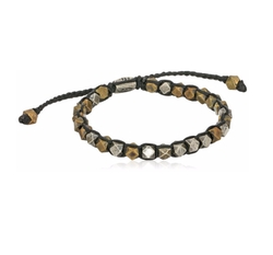 Wax Cord & Brass Cornerless Bead Bracelet by M.Cohen Handmade Designs in Ballers