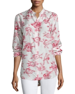 Henri Button-Front Floral-Print Blouse by Equipment in Keeping Up with the Joneses
