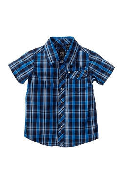 Short Sleeve Woven Plaid Shirt by Urgent Gear in Boyhood
