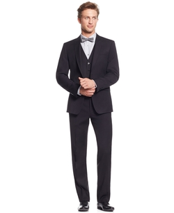 Mini Herringbone Peak Lapel Vested Suit by Calvin Klein in The Blacklist